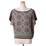 カトリーヌアンドレ リバーシブル半袖セーター ジャガード織 グリーンミックス