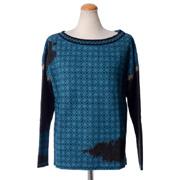 カトリーヌアンドレ ロングスリーブ柄セーター ジャガード織 ブルーミックス