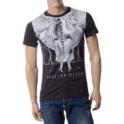 フィリッププレイン ユニコーンプリントTシャツ ブラック