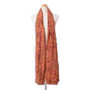 カンタ刺繍 刺し子ストール カンタ刺繍 オレンジプリント