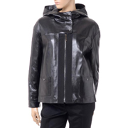 メゾンウーレンス フーディーレザージャケット 羊革 ブラック