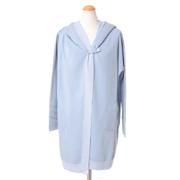 メゾンウーレンス トラベルキットロングジャケット カシミア混合 ホワイトブルー