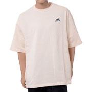 ジェイクベルフォート ビッグシルエット半袖スウェットTシャツ サメ2刺繍 コットン エンブロイダリー ベージュ