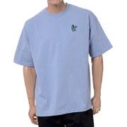 ジェイクベルフォート ビッグシルエット半袖スウェットTシャツ サメ3刺繍 コットン エンブロイダリー アシッドブルー