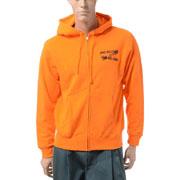 ジェイクベルフォート マルチロゴ刺繍スウェットジップアップフーディーパーカー コットン オレンジ