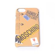 モスキーノ iPhone7用ケース 6/6s対応 ロゴ入り取扱い注意モチーフ サンド