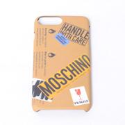 モスキーノ iPhone7 Plus用ケース 6/6s Plus対応 ロゴ入り取扱い注意モチーフ サンド