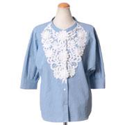 モスキーノ チープアンドシック カットレース刺繍五分袖ブラウス コットン ライトブルー