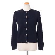 バリー 丸襟ツィスト編みカーディガン カシミア ブラック