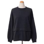 ブルネロクチネリ 裾二重丸襟セーター ウールカシミアシルク ダークグレー