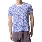 ミゼリコルディア 半袖Tシャツ コットン ウェーブプリント ホワイト