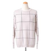 ブルネロクチネリ スパンコール丸襟セーター カシミアシルク ホワイトチェック