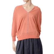 ブルネロクチネリ チェーン付五分袖丈セーター リネン混合 オレンジ