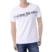 ブラックデニム プリントTシャツ ホワイト
