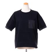 プラスプラス ポケット付き半袖トップス コットンポリエステル ブラック
