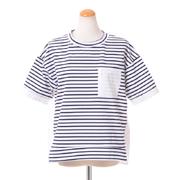 プラスプラス ポケット付き半袖トップス コットンポリエステル ホワイトネイビーストライプ