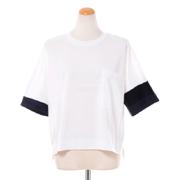 プラスプラス 袖2色使いカットソー コットンフライス ホワイト