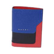 マルニ サファイアーノ2つ折財布 カーフ ブルーブラックレッド