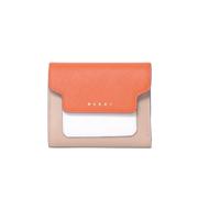 マルニ 3つ折コインケース付き財布 サフィアーノレザー オレンジホワイトベージュ
