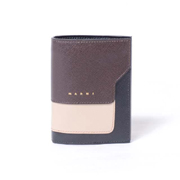 マルニ 二つ折り財布 レザー コーヒーライトキャメルブラック