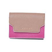 マルニ 3つ折コインケース付き財布 サファイアーノレザー ベージュピンクブラウン