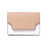 マルニ 3つ折コインケース付き財布 サファイアーノレザー ベージュホワイトダークバーガンディ