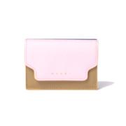 マルニ 3つ折りコインケース付きお財布 サフィアーノレザー ピンクオリーブダークシアン