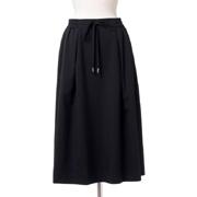 スタジオヨコ ウエストゴム付きスカート ウールギャバ ブラック