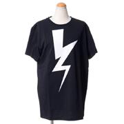 ニールバレット ビッグサンダーボルトプリントオーバーサイズTシャツ コットン ブラック