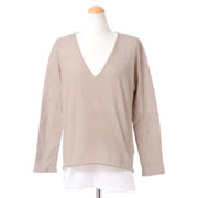 ファビアナフィリッピ Vネック2重長袖セーター コットン混合 ブラウンホワイト