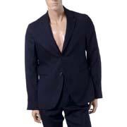 ラフシモンズ 2つボタンスーツ背抜きジャケット チェック ダークネイビー