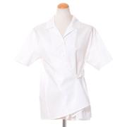 レキサミ 開襟半袖ブラウス コットン ホワイト