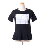 レキサミ ぺプラム裾半袖カットソー コットンジャージー ブラック