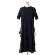 レキサミ 裾レース半袖ドレス コットン ブラック