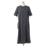 レキサミ 裾レース半袖ドレス コットン グリーン