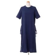 レキサミ 裾レース半袖ドレス コットン ネイビー