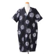 レキサミ フラワージャカード半袖ドレス ポリエステルコットン ブラック