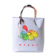 マルニ フラワープリントショッピングトートバッグ グレー