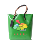 マルニ フラワープリントショッピングトートバッグ グリーン