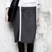 メゾン マルタンマルジェラ Aラインスカート ツィードウール ミックス