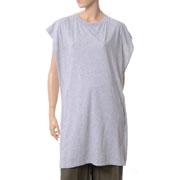 エムエムシックス メゾンマルジェラ 後ろストライプロング丈Tシャツ ジャージーとシャツ ライトグレー