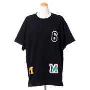 エムエムシックス メゾンマルジェラ パッチ付Tシャツ コットンジャージー ブラック