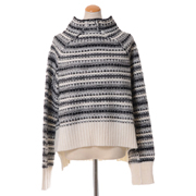 エムエムシックス メゾンマルジェラ リバーシブルショート丈セーター アルパカ混合 ブラックホワイト