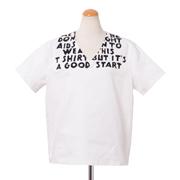 エムエムシックス メゾンマルジェラ エイズTプリント半袖ブラウス コットンキャンバス ホワイト