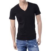 ディースクエアード24-7 VネックTシャツ コットン ブラック