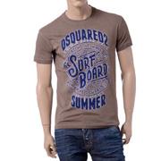 ディースクエアード surf boardプリントラウンドネック半袖Tシャツ コットン ブラウン