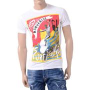ディースクエアード surfsquad ラウンドネック半袖Tシャツ コットン ホワイト