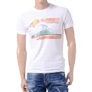 ディースクエアード サンライズプリントラウンドネック半袖Tシャツ コットン ホワイト