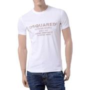 ディースクエアード hawaiian grungeプリントラウンドネック半袖Tシャツ コットン ホワイト
