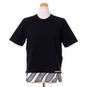 ディースクエアード ゼブラ模様裾切替えTシャツ コットン ブラック